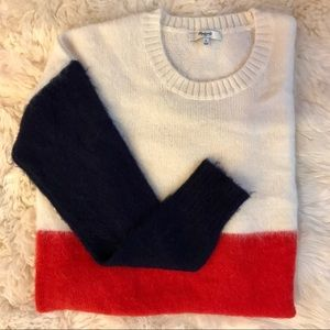 Mohair Red White & Blue Color Block Sweater